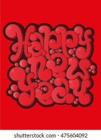 Happy New Year hand-lettering text.