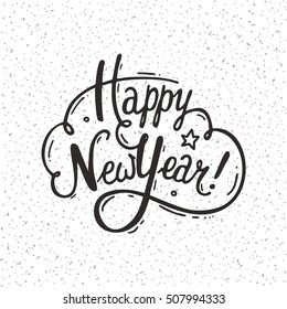 Happy New Year handwritten lettering made with ink. Hand drawn design element for congratulation card, invitation, banner, poster and flyer templates. Isolated vector on white background.