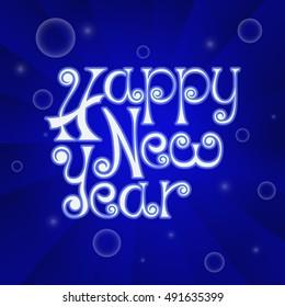 Happy New Year handwritten poster on blue background