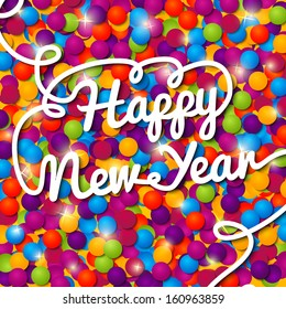 Happy New Year handwritten white swirl lettering on greeting card made from bundle of bright confetti on the paper with snowflakes. With shining glares. With free place for your text.