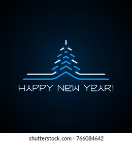 Happy New Year high tech logo. Abstract Christmas winter pine tree and greeting inscription in the space futuristic style. Glowing blue and white neon modern Xmas symbol on a bluish black background.