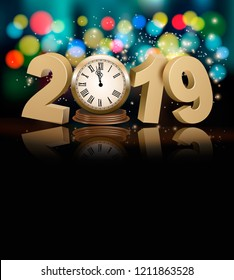 Happy New Year holiday background with 2019, a clock and firework. Vector.