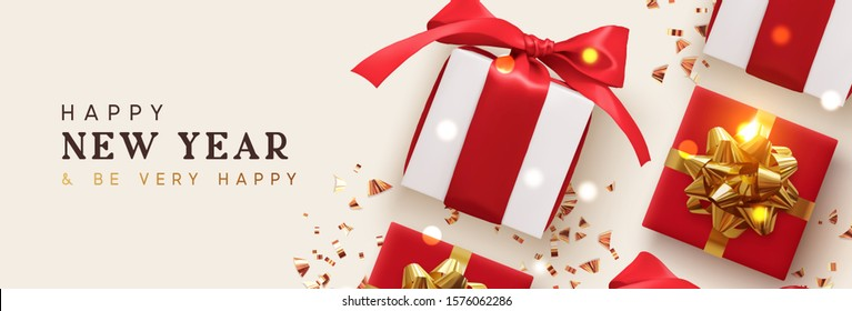 Happy New Year. Holiday Background with realistic gift boxes, golden glitter confetti, bokeh lights. Happy New Year and Be Very Happy. Horizontal Christmas poster, greeting card, headers for website