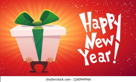 happy new year holiday celebration postcard banner card, man hold big huge gift box surprise with green ribbon with tied bow on red background , cartoon flat stile funny vector illustration