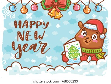 Happy New Year. Holiday greeting card with lettering, calligraphy text, and cute teddy Bear character on winter background. Illustration art in hand drawn cartoon, doodle style for print design
