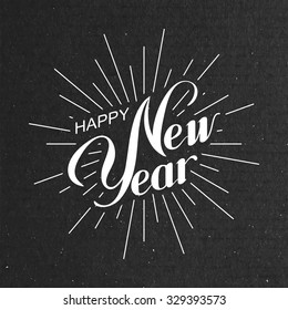 Happy New Year. Holiday Vector Illustration With Lettering Composition And Light Rays Or Sunburst