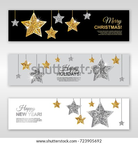 happy new year happy holidays and merry christmas glowing horizontal banner set with gold and
