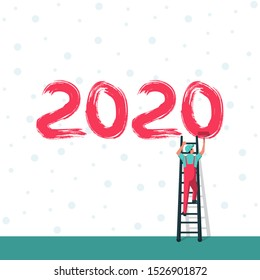 Happy New Year. Human on ladders are holding roll brushes and writing the number 2020. Snow background. Brush numbers. Vector illustration flat design.