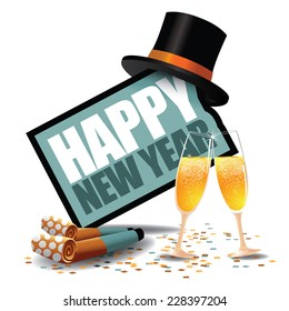 Happy New Year icon with party blowers and top hat EPS 10 vector