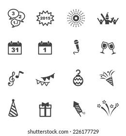 happy new year icons, mono vector symbols