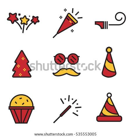 happy new year icons set line design illustration eps10