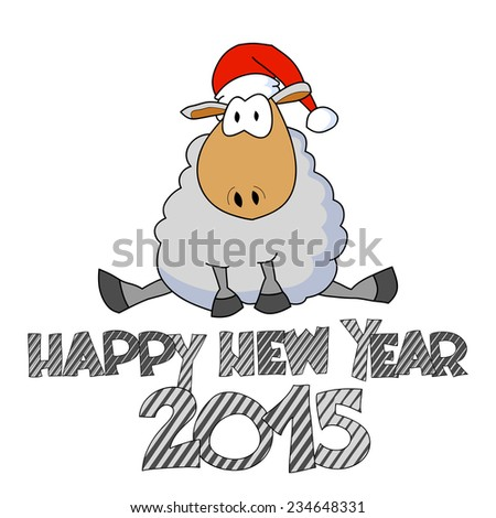 Happy New Year Illustration Sitting Funny Stock Vector (Royalty Free ...