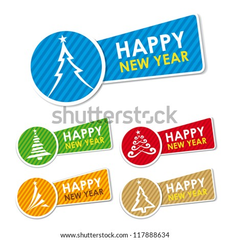 happy new year labels vector illustration