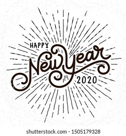 Happy New Year Lettering with burst rays. Holiday Vector Illustration. Lettering Composition And Light Rays Or Sunburst