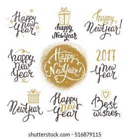 happy new year lettering handwritten texts set made with ink design for congratulation card