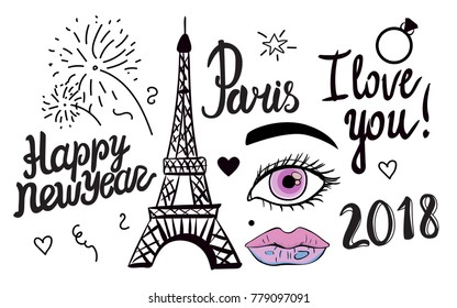 Happy New Year lettering. Illustration black ink Eiffel Tower. Vector decorations isolated on white background. Handwritten inscription Paris I love you.