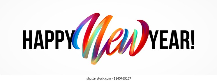 Happy New Year lettering on the background with a colorful brushstroke oil or acrylic paint design element. Vector illustration EPS10