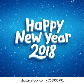 Happy New Year lettering on blue blurry vector background with sparkles. Greeting card design template with 3D typography label