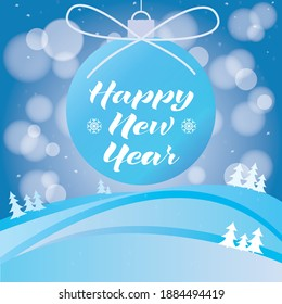 Happy New Year lettering over decoration and blue background