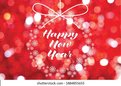 Happy new year lettering over red bokeh background