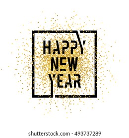 Happy new year lettering in squares with golds background confetti