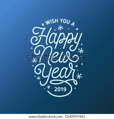happy new year lettering template greeting card or invitation wish you a happy new