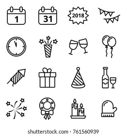 Happy New Year line icons set. Mono vector symbols