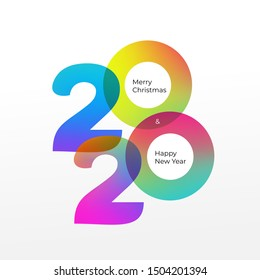 Happy new year logo 2020 vector background. Cover of card for 2020. Vector illustration. Isolated on white background.
