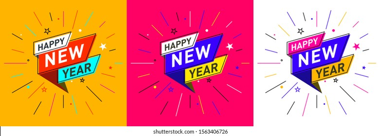 Happy New Year logo design in flat trendy  geometric retro style. Poster, Placard, Concept, Template, Banner, Icon, Offer, Unit, Label, Web Header, Mnemonic with colour Background