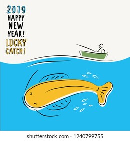 Happy new year and lucky catch. Greeting card holiday template with fisher and whale. Simple vector illustration.
