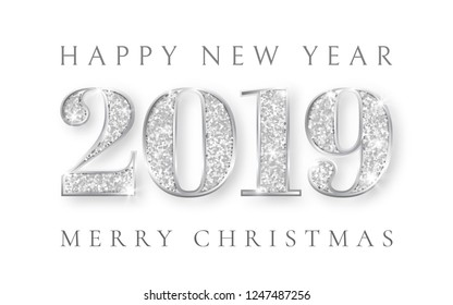 Happy New Year and Marry Christmas 2019, silver numbers design of greeting card, Xmas , Vector illustration.