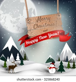 Happy New year an Mary Christmas background, vector card, party invitation