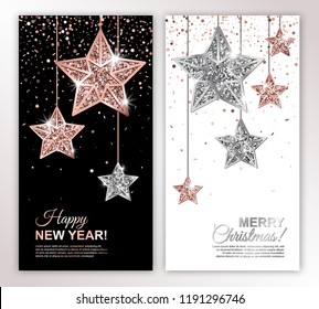 Happy New Year and Merry Christmas vertical banners set with Rose Gold and Silver Hanging Stars on confetti backgrounds. Vector illustration. Glowing Invitation Template. All isolated and layered