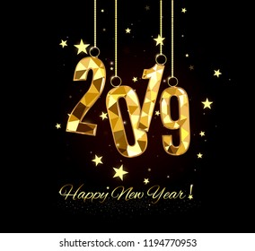 happy new year and merry christmas 2019 decorative element from a golden ball design