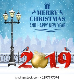 happy new year and merry Christmas Winter Cityscape with luminous street lantern, snow flakes. concept for greeting and postal card, invitation, template, 2019 with christmas ball