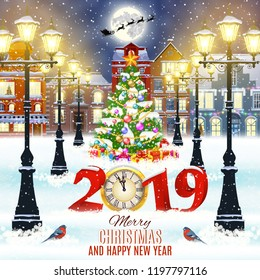 happy new year and merry Christmas winter old town street with christmas tree. Santa Claus with deers in sky above the city. concept for greeting, postal card, invitation, template, 2019 clock