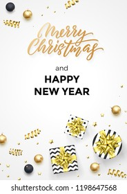 Happy New Year and Merry Christmas greeting card background template of golden modern quote calligraphy. Vector gift ribbon or gold glittering star confetti on Christmas winter white background