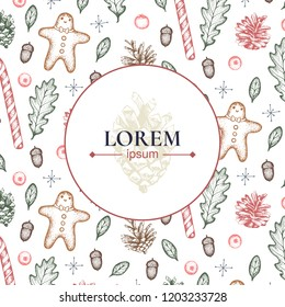 Happy new year/ merry christmas. Idea of greeting card. Template of poster, banner or leaflet. Lorem ipsum. Vector. Funny hand drawn pine cones, oak leaves, gingerbread mans.
