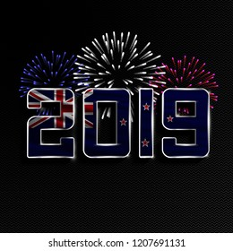 Happy New Year and Merry Christmas. 2019 New Year background with national flag of New Zealand and fireworks. Vector illustration.