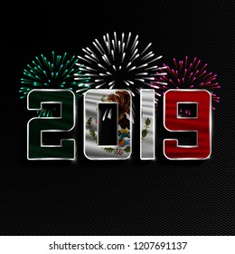 Happy New Year and Merry Christmas. 2019 New Year background with national flag of Mexico and fireworks. Vector illustration.