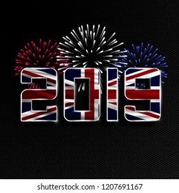 Happy New Year and Merry Christmas. 2019 New Year background with national flag of Great Britain and fireworks. Vector illustration.