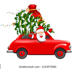 Happy New Year and Merry Christmas. Cute and cheerful Santa Claus drives an red retro car with a Christmas tree and gifts in a bag. Isolated on white background. Vector illustration.