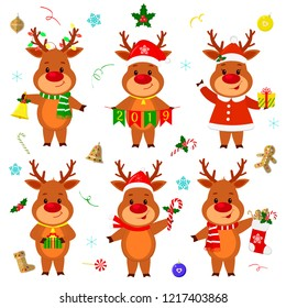 Happy New Year and Merry Christmas greeting card. Set of six reindeers in different costumes and poses, various accessories. Cartoon and flat style. Vector.