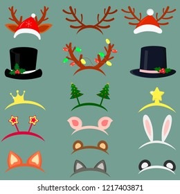 Happy New Year and Merry Christmas. Set of sixteen different hats and accessories for the Christmas holidays. Flat style vector.