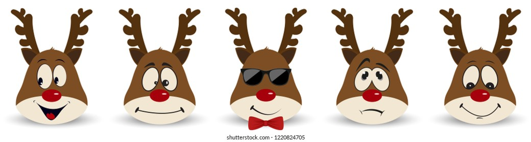Happy New Year and Merry Christmas. Set of fun and emotional Christmas deers for your design. Vector illustration.