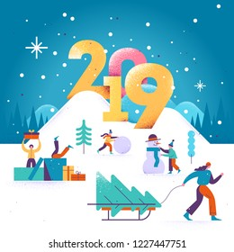 Happy New Year and Merry Christmas greeting card 2019 with winter outdoor leisure activities. People walking in the winter park. Kids making a snowman. Vector illustration.