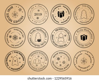happy new year and merry christmas - vector postage stamps with snowflakes on german. Frohes neues Jahr. Frohe Weihnachten.