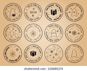 happy new year and merry christmas - vector postage stamps with snowflakes on spanish. Feliz ano nuevo. Feliz navidad.