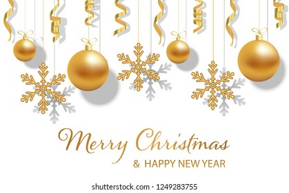 Happy new year and Merry Christmas Festive Background with hanging gold Christmas balls or baubles with bows and snowflakes, ribbons, over white, vector illustration. Xmas decoration