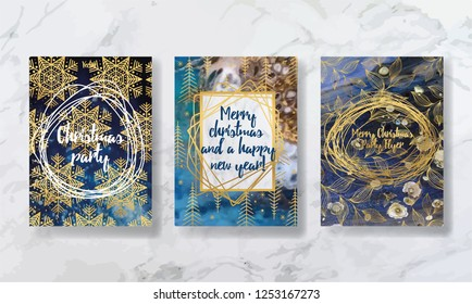Happy New Year and Merry Christmas. party invitation. for printing on flyer, leaflet, brochure. texture of liquid marble and yellow gold. trend vector